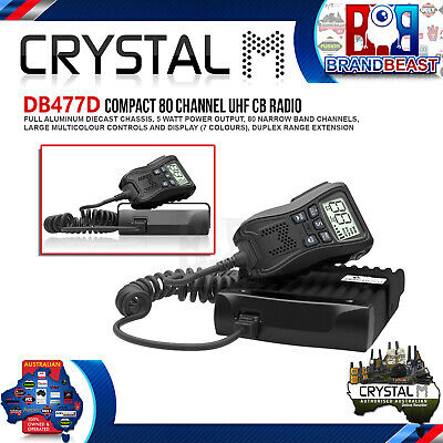 Crystal Db477D Crystal Mobile - 5W Compact In Car Uhf Cb Radio With Remote Mic C