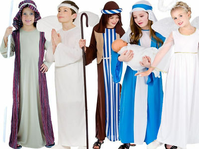 Nativity Play Kids Costume School Christmas Fancy Dress Angel Outfit Age 3-13