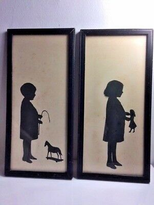 Pair Antique 19th Century Silhouettes Paper Cut Portraits of Boy & Girl at Play