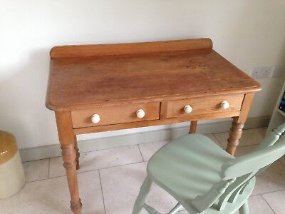 Antique Pine Dressing Table with two drawers W91xD52xH72.5cms