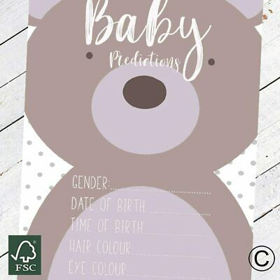 Baby Shower Games - Prediction Cards Cute Bear New Mum To Be Baby Boy Baby Girl
