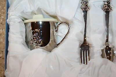 Things Remembered Baby Bear Feeding Set Silver Cup Fork Spoon New in Box