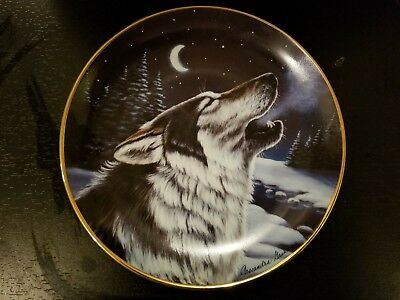 Franklin Mint Wolf Plate Howl At Midnight