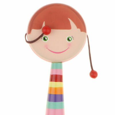 Rainbow Wooden Handle Jingle Shaker Baby Rattle Toy Beautiful Bright Colors