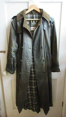 FANTASTIC *VINTAGE 90s BARBOUR* DARK GREEN LONG HOODED WAX TRENCH COAT SIZE 12