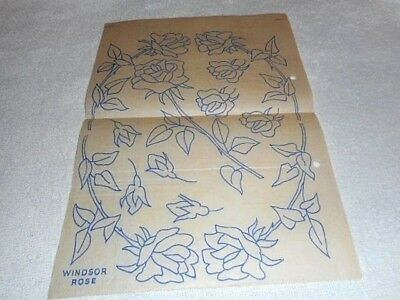 Vintage Embroidery Iron on Transfer -  'Windsor Rose' / Flowers