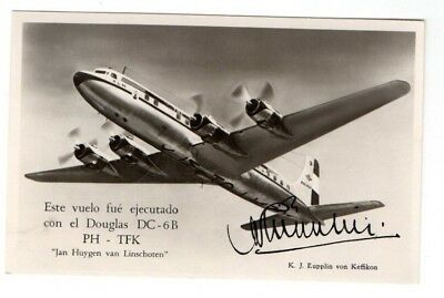 1952 Argentina,klm Dc-6B First Flight ? Signed Postcard Fdc From Collection H18