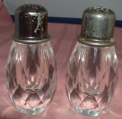 Vintage Clear Glass Salt and Pepper Shakers with Metal Lids  Very Heavy