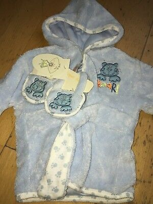 Baby Boys Light Blue Dressing Gown Slipper Set 0-3 Months