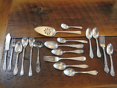 LOT OF 18 ASSORTED VTG SILVER PLATE W.M. ROGERS, Alvin, 1847 ROGERS FLATWARE
