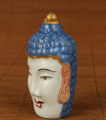 Antique Rare Porcelain hand Painting BUDDHA HEAD snuff bottle statue Collection