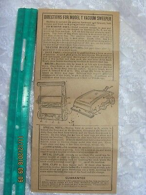 Vintage Late 1800's Early 1900's Model T Vacuum Sweeper Instructions Antique