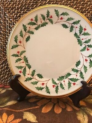 LENOX Holiday Dimension Christmas Holly & Berry SALAD PLATES PLATE Set of 4 NEW