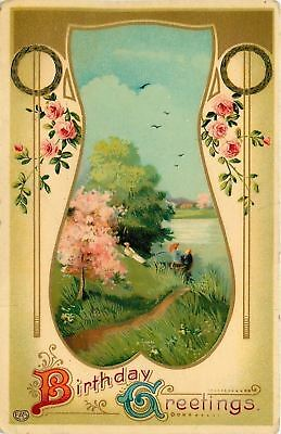Spring Scene Portal~Lady Reclines~Boat On Water~Roses~Gold Art Nouveau~GEL~EAS