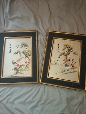 Antique Chinese Hand Embroidered Silk Framed.