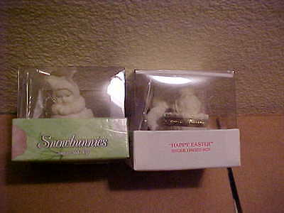 Dept 56 Snowbunnies Happy Easter & Sunny Side Up Hinged Easter Boxes New