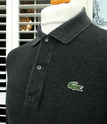 Lacoste Charcoal Grey L/S Polo Shirt - XL - Size 6 - Ska Mod Scooter Casuals