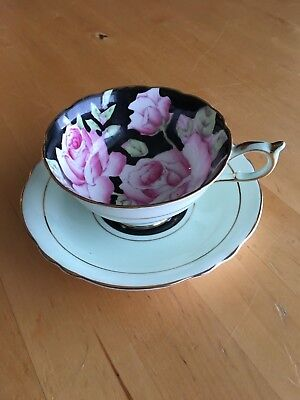 Paragon pink roses on black cup & saucer