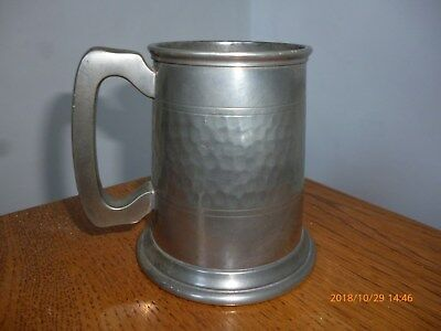 Masonic Etched Glass Bottom Pewter Half Pint Tankard