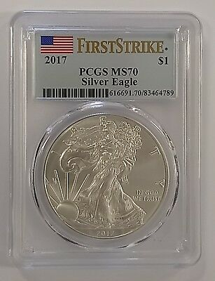 2017 $1 American Silver Eagle - First Strike - PCGS MS70 - Flag Label