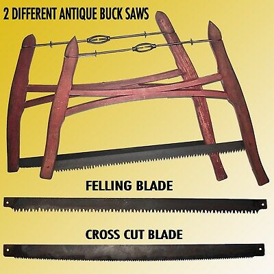 Matching Pair Of Antique Wood Frame Buck Saws One W/ Felling &one Limbing Balade