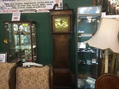antique Brass Face 8 Day grandfather clock by Barnish of Rochdale