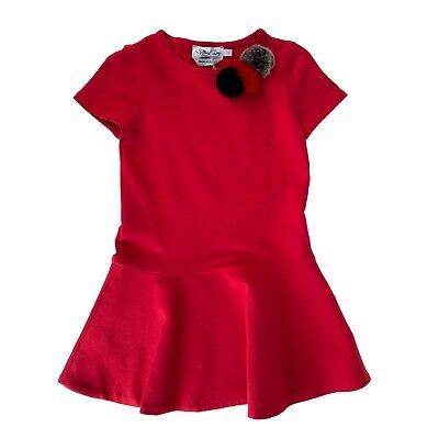 SPECIAL DAY Ruffle Hem Dress Size 7Y Fur Embellished Short Sleeve Made in Italy