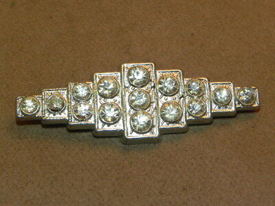 Vintage Art Deco Clear Rhinestone Silver Pot Metal Pin Brooch C Clasp