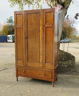 Vintage Oak Single One Drawer Wardrobe
