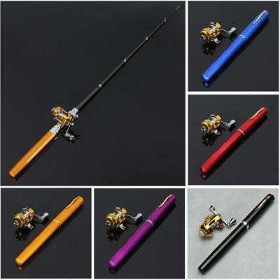 Mini Portable Pocket Fish Pen Shape Aluminum Alloy Fishing Rod Pole Reel NE