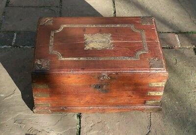 Rustic Antique Victorian Large Box or Small Chest - Brass On Oak, Beeswax fin.