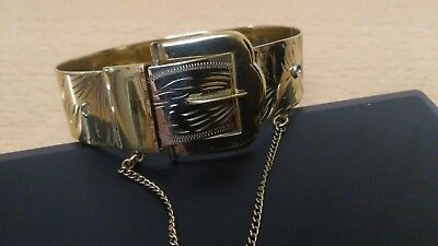 vintage 1970s 9ct rolled gold bangle buckle bracelet lovely condition heavy 25g