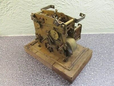 Vintage Clock Movement on Wooden Base - Spares or Work of Art