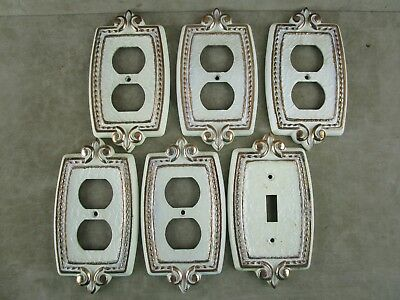 Vintage 5 Outlet & 1 Lightswitch Cover Plate Brass/Gold & White Ornate Design SA