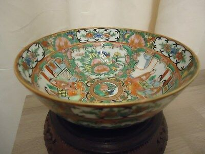 19thC antique chinese canton porcelain famille rose bowl
