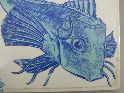 (2) A Brown Westhead & Moore 8 Inch Tile With A Blue/green Fish 19Th Century
