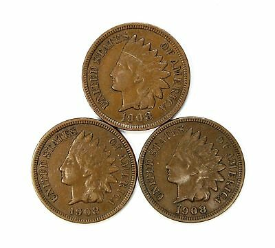 Lot of 3 1908 1c Indian Head Cent Pennies XF / XF+ Sharp Liberty #137315*