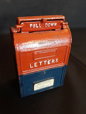 Old Vtg Cast Iron U.S. Mail Mailbox Piggy Bank Red And Blue