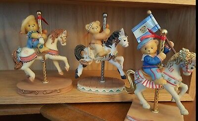 Lot of 3 Cherished Teddies Carousels Bill Gina Cody Friends Blossom