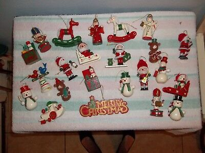 LOT of 23 Vintage CHRISTMAS Wooden Ornaments