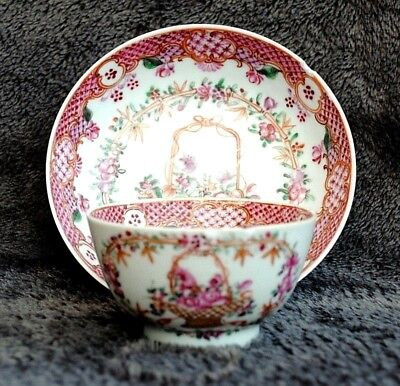 18Th Century Chinese Hand Painted Famille Rose Tea Bowl & Saucer
