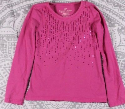 Faded Glory Long Sleeve Sequin Shirt Small 6-6X Girl's Pink Cotton Blend Used
