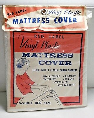 Vtg NOS Double Bed Vinyl Plastic Fitted Mattress Cover Sealed Red Label Japan WP