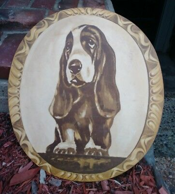 Vintage Hush Puppies Shoes Basset Hound Oval 22 x 20 Advertising Sign Display