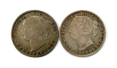 Lot of 2 1873 & 1896 Newfoundland Canada 20c Silver Coin #135218 R