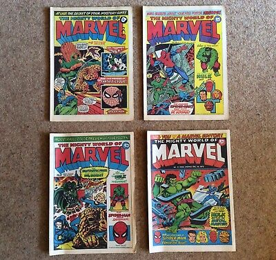 THE MIGHTY WORLD OF MARVEL - UK MARVEL COMICS WEEKLY NOS 6, 8, 10 and 11