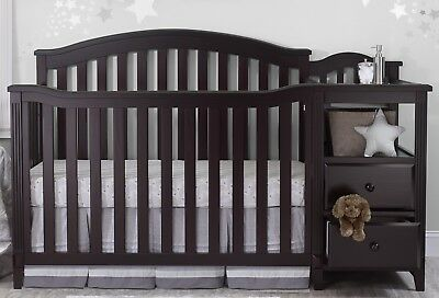 Sorelle Berkley 4 in 1 Crib and Changer Espresso Changing Table Storage Drawers