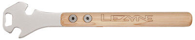 """Lezyne Classic Pedal Rod Pedal Wrench & Bottle Opener Wood 14.2"""" Handle"""