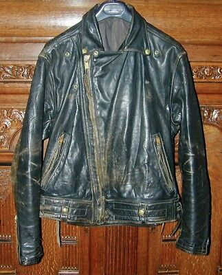 VINTAGE LANGLITZ LEATHERS COLUMBIA MOTORCYCLE JACKET. c1950's-60's. Med-Large.