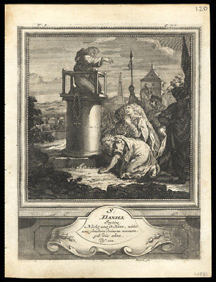 St Daniel, the Stylite 1725 German Engraving of The Solitary or Hermit Saints